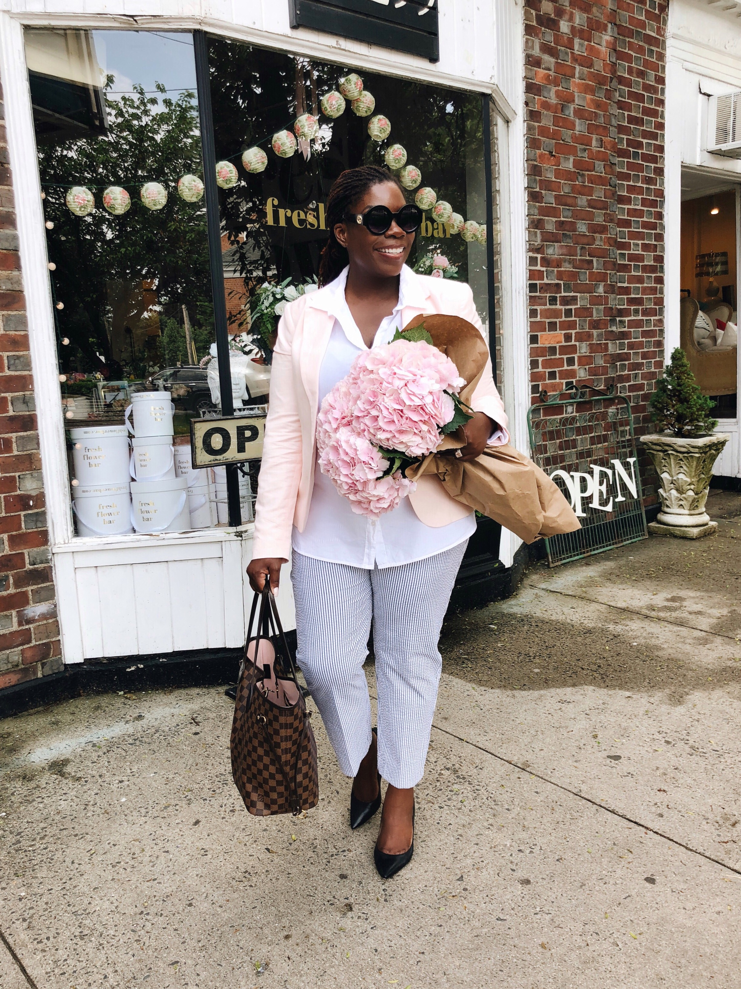 pink linen jacket
